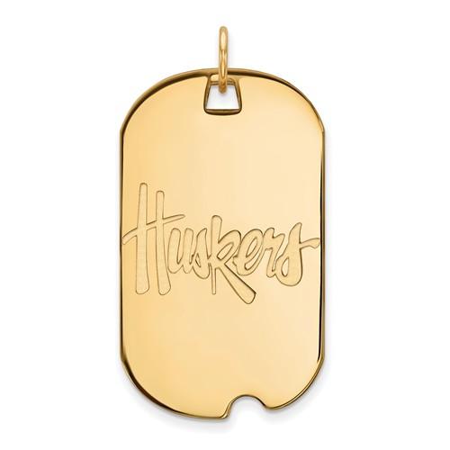 14kt Yellow Gold University of Nebraska Huskers Dog Tag