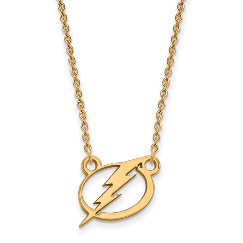14k Yellow Gold Small Tampa Bay Lightning Pendant with 18in Chain