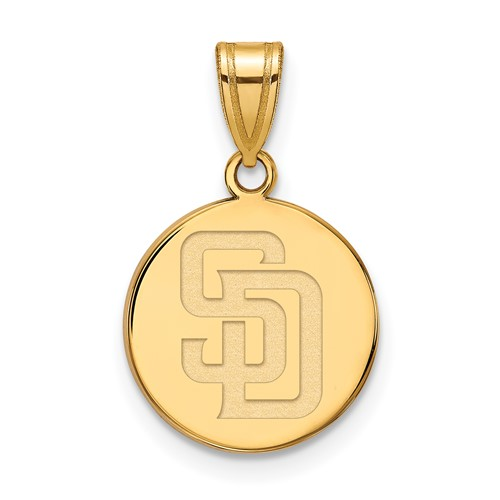 10k Yellow Gold 5/8in Round San Diego Padres Pendant
