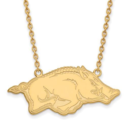 14k Yellow Gold University of Arkansas Razorback Necklace