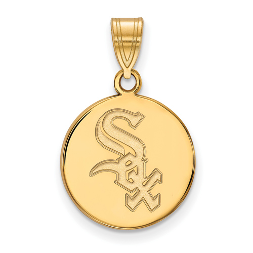 10kt Yellow Gold 5/8in Round Chicago White Sox Pendant