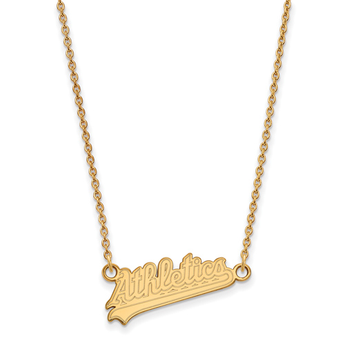 10k Yellow Gold Oakland A's Script Pendant on 18in Chain