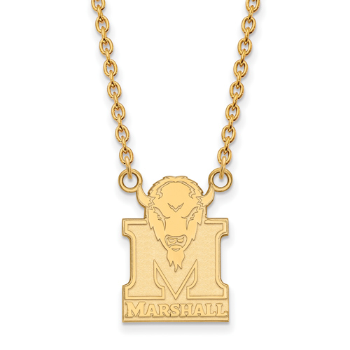 14k Yellow Gold Marshall University Logo Pendant with 18in Chain