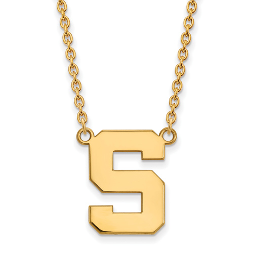 14k Yellow Gold 3/4in Michigan State University Block S Necklace