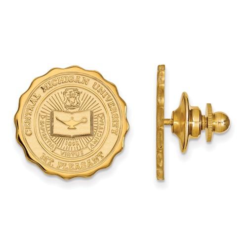 Central Michigan University Crest Lapel Pin 14k Yellow Gold