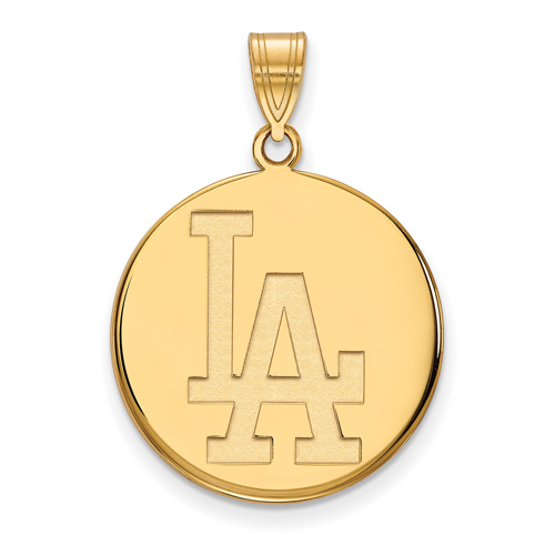 14k Yellow Gold 7/8in Los Angeles Dodgers Disc Pendant