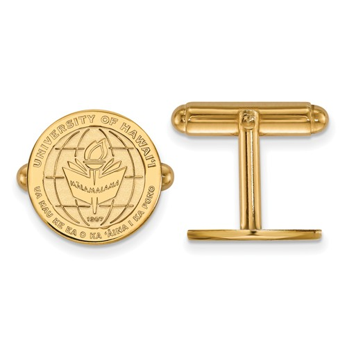 University of Hawaii Crest Cuff Links 14k Yellow Gold