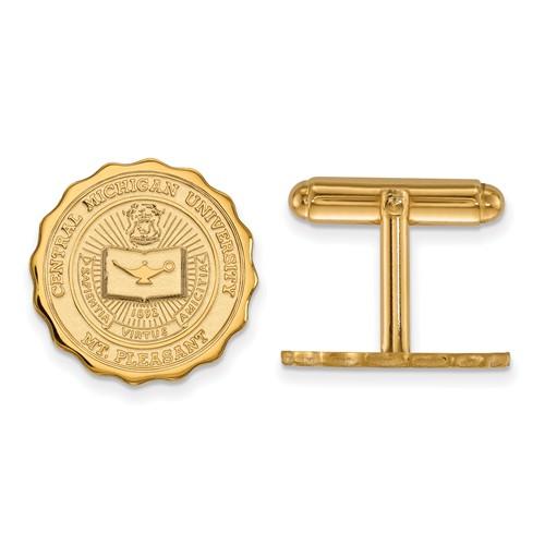 Central Michigan University Crest Cuff Links 14k Yellow Gold