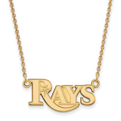 14k Yellow Gold 3/8in Tampa Bay Rays Pendant on 18in Chain