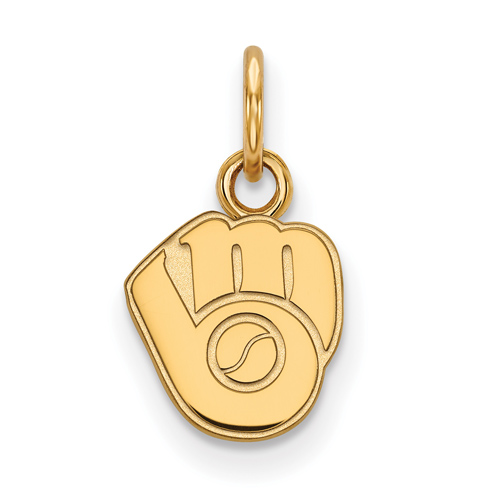 14k Yellow Gold 3/8in Milwaukee Brewers Glove Logo Pendant
