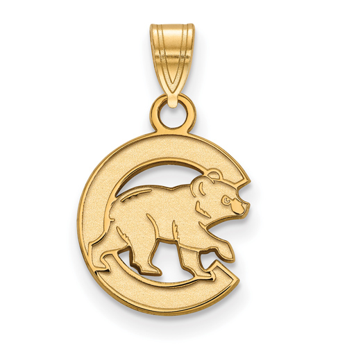 14kt Yellow Gold 1/2in Chicago Cubs Walking Cub Pendant
