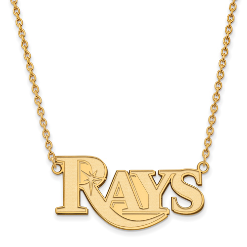 10k Yellow Gold Tampa Bay Rays Pendant on 18in Chain
