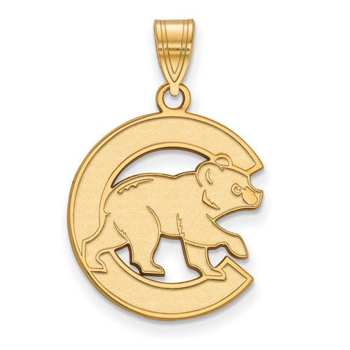 14kt Yellow Gold 3/4in Chicago Cubs Walking Cub Laser-cut Pendant