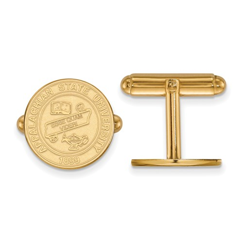 Appalachian State University Crest Cuff Links 14k Yellow Gold