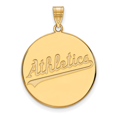 14k Yellow Gold 1in Oakland A's Logo Pendant