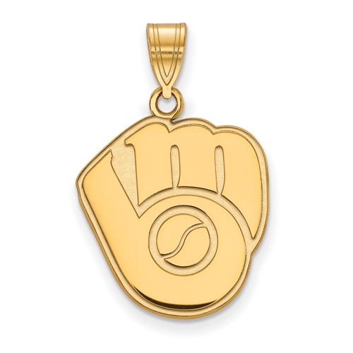 10k Yellow Gold 5/8in Milwaukee Brewers Glove Logo Pendant