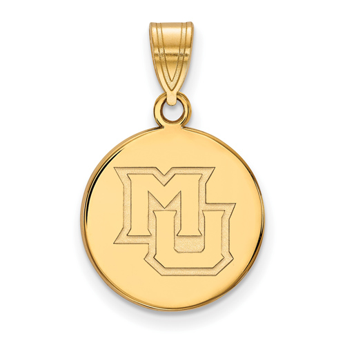 Marquette University Disc Pendant 5/8in 10k Yellow Gold