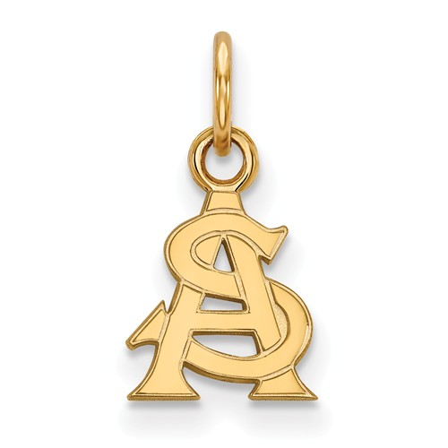 Arizona State University Logo Charm 3/8in 14k Yellow Gold