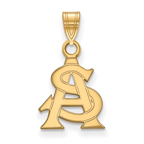Arizona State University AS Pendant 1/2in 14k Yellow Gold