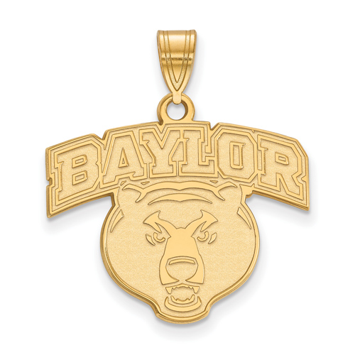 10k Yellow Gold 3/4in Baylor University Bear Head Pendant