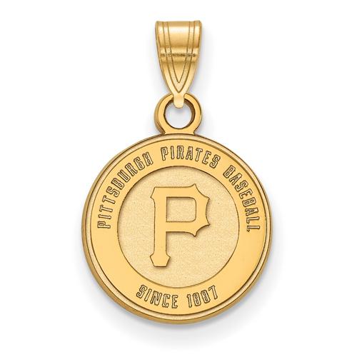 10k Yellow Gold 1/2in Pittsburgh Pirates Baseball Since 1887 Pendant