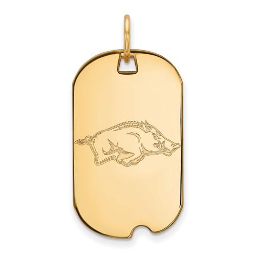 14k Yellow Gold University of Arkansas Small Dog Tag