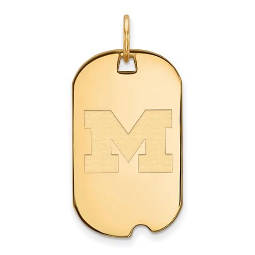 10kt Yellow Gold University of Michigan Small Dog Tag