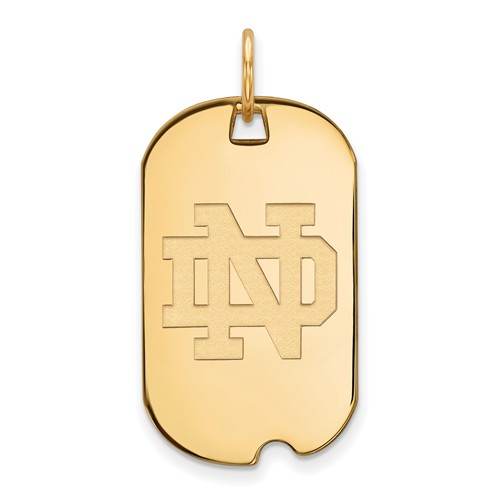 14k Yellow Gold University of Notre Dame Small Dog Tag