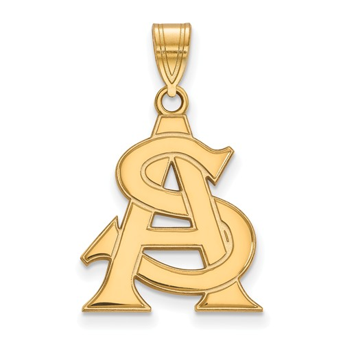 Arizona State University AS Pendant 3/4in 10k Yellow Gold