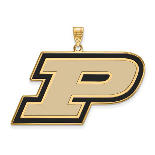 Gold-plated Sterling Silver Purdue University P Pendant Enamel 1in