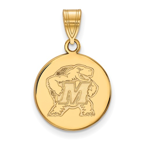 14k Yellow Gold 5/8in University of Maryland Terrapin Round Pendant