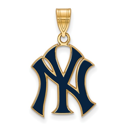 Gold-plated Sterling Silver 3/4in New York Yankees NY Enamel Pendant