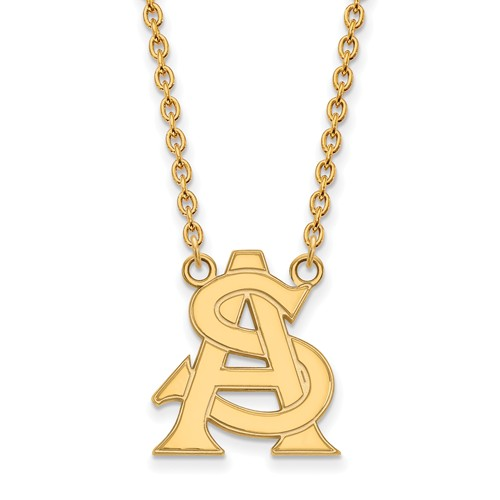 Arizona State University AS Necklace 3/4in 10k Yellow Gold