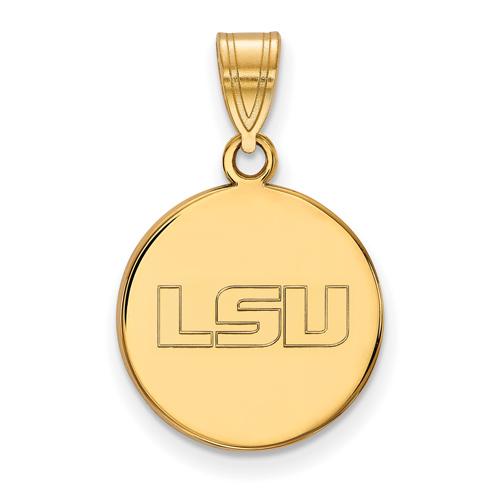 14kt Yellow Gold 5/8in Louisiana State University LSU Round Pendant