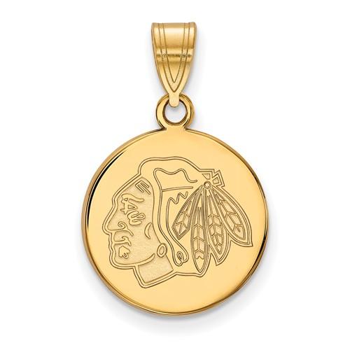 Chicago Blackhawks Disc Pendant 5/8in 10k Yellow Gold