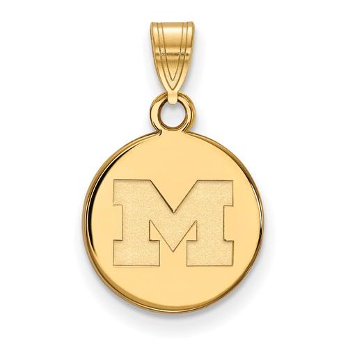 10kt Yellow Gold 1/2in University of Michigan M Round Pendant