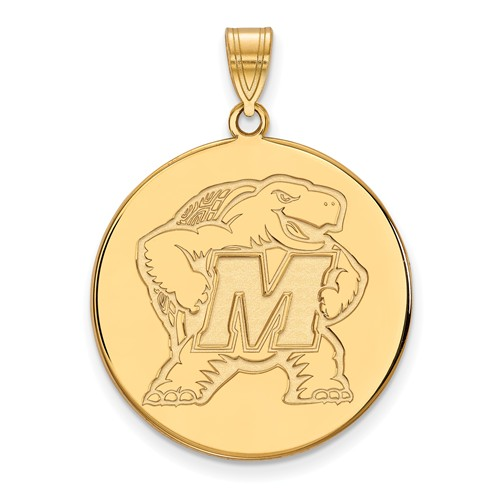 10k Yellow Gold 1in University of Maryland Terrapin Round Pendant