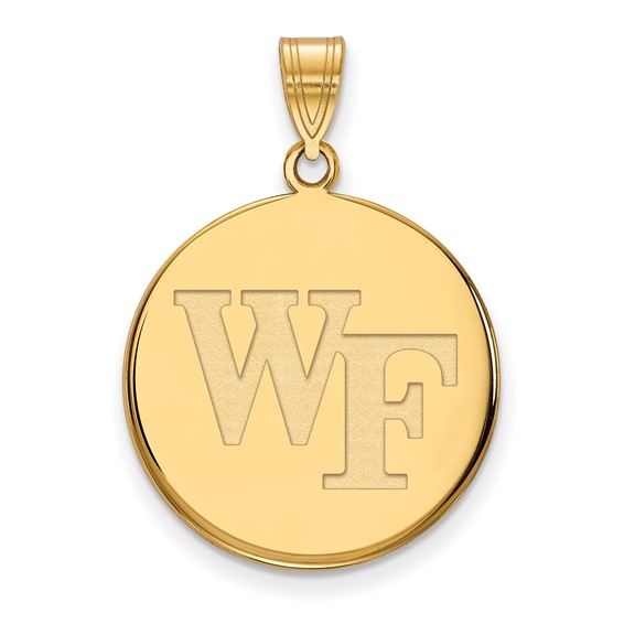 Wake Forest University Round WF Pendant 3/4in 14k Yellow Gold