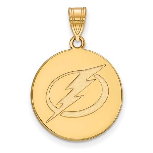 10k Yellow Gold 3/4in Tampa Bay Lightning Round Pendant