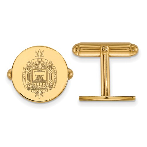 14k Yellow Gold United States Naval Academy Seal Cuff Links