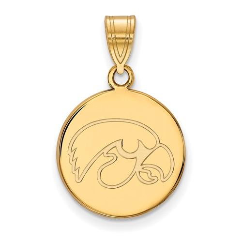 University of Iowa Round Pendant 5/8in 10k Yellow Gold