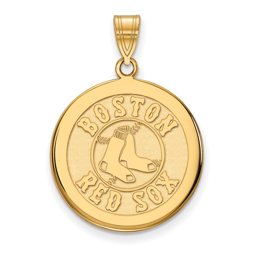 14kt Yellow Gold 3 4in Boston Red Sox Disc Pendant 4y041rso