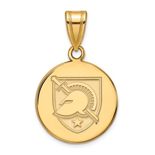 United States Military Academy Disc Pendant 5/8in 10k Yellow Gold