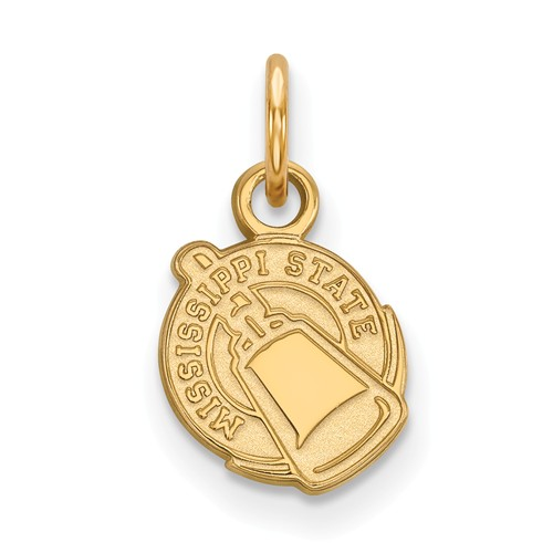 Mississippi State University Cowbell Charm 3/8in 14k Yellow Gold