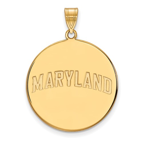 10k Yellow Gold 1in MARYLAND Round Pendant