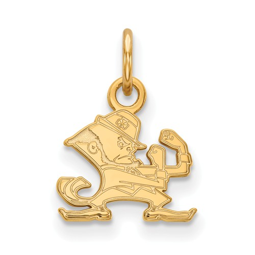 14k Yellow Gold 1/2in University of Notre Dame Leprechaun Pendant