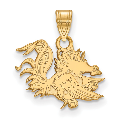 10kt Yellow Gold 1/2in University of South Carolina Gamecock Pendant