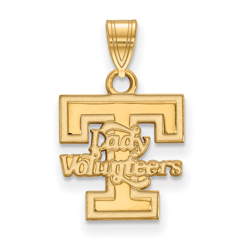 Univ of Tennessee 1/2in Lady Volunteers T Pendant 14k Yellow Gold