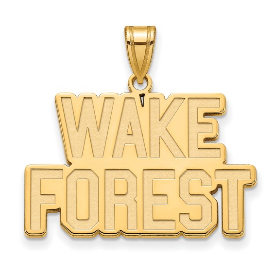 Wake Forest University Logo Pendant 3/4in 14k Yellow Gold
