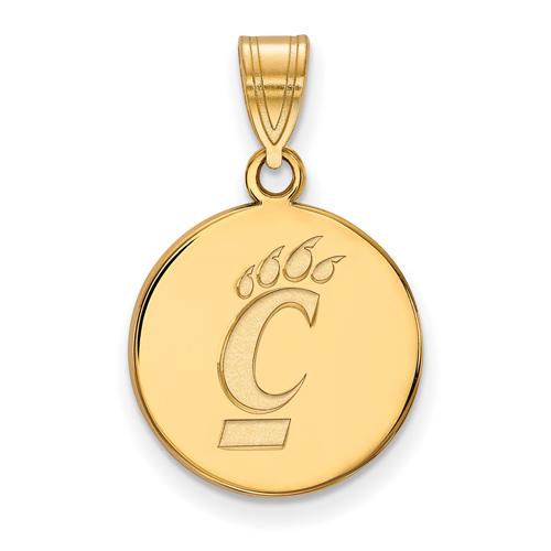 14k Yellow Gold 5/8in University Of Cincinnati Round Pendant